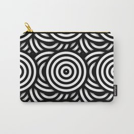 Retro Black White Circles Op Art Carry-All Pouch