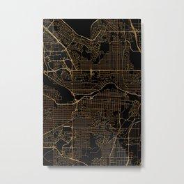 Black and gold Calgary map Metal Print