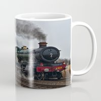 ashton irwin Mugs featuring Rood Ashton Hall steam locomotive by PICSL8