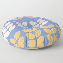Retro Leaves on Blue Background Floor Pillow
