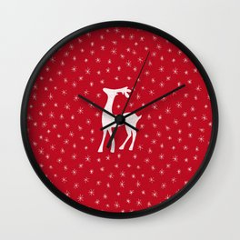 Reindeer with sparkling stars on red Wall Clock