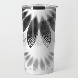 Silver Shikoba - Beautiful Black on White Fractal Paisley Forming Feathered Wings Travel Mug