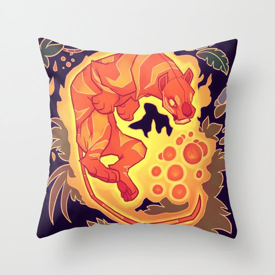 Fire Tiger with Berries Throw Pillow