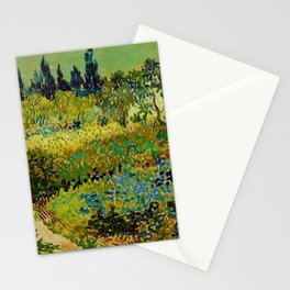 The Garden at Arles, France by Vincent Van Gogh Stationery Cards