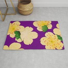 Purple Japanese Floral Vintage Pattern Rug