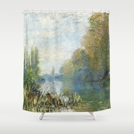 The Banks of The Seine in Autumn by Claude Monet Shower Curtain