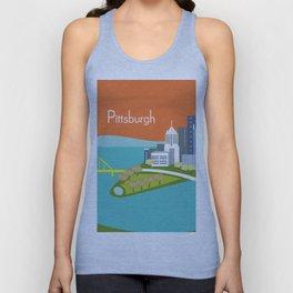 Pittsburgh, Pennsylvania - Skyline Illustration by Loose Petals Unisex Tank Top
