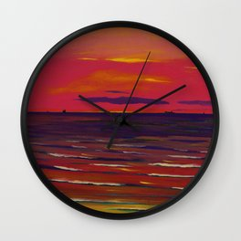 Marine, Soir - Red Skies at Night ... landscape painting by Leon Spilliaert Wall Clock