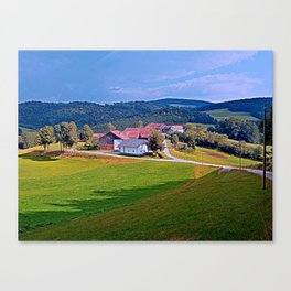 Small village skyline with cloudy sky | landscape photography Canvas Print