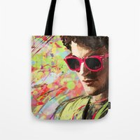 darren criss Tote Bags featuring Colourful Darren Criss by Ines92