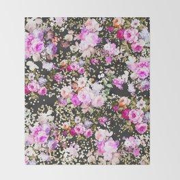 Elegant vintage bright pink floral faux gold confetti Throw Blanket