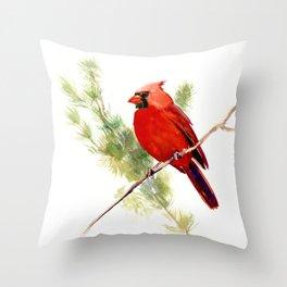 Cardinal Bird, Christmas decor gift Throw Pillow