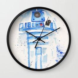 R2-D2 R2D2 droid watercolor Wars Scifi Star FAnart Wall Clock