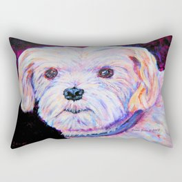 Maltese Painting By Annie Zeno Rectangular Pillow