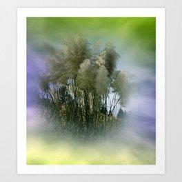 Pampas grass on textured background -1- Art Print