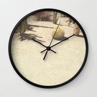 cacti Wall Clocks featuring Cacti by Amber Barkley