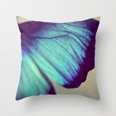 Black and Blue Wing Throw Pillow