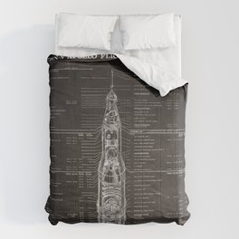 Apollo 11 Saturn V Blueprint in High Resolution (black) Comforters