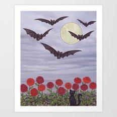 bats, zinnias, and black cat Art Print