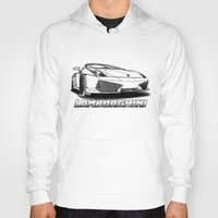 lamborghini Hoodies featuring Lamborghini line drawing by JT Digital Art
