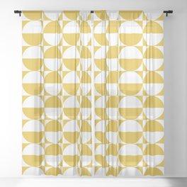 Mid Century Modern Half Circles Pattern Mustard Yellow Sheer Curtain