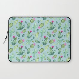 Green Cactus with Pink Bloom   Watercolor Cacti on Cyan Background Laptop Sleeve