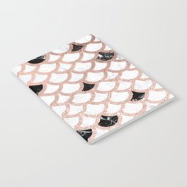 Girly rose gold black white marble mermaid scallop pattern Notebook