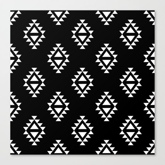 Linocut southwest minimal pattern black and white print scandinavian minimalism Canvas Print