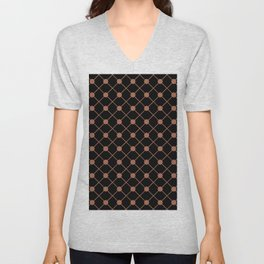 Sherwin Williams Cavern Clay SW7701 Thin Line Stripe Grid and Polka Dots on Black Unisex V-Neck