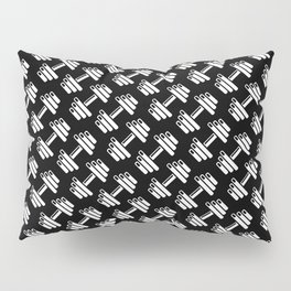 Dumbbellicious inverted / Black and white dumbbell pattern Pillow Sham