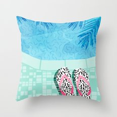 Go Time - resort palm springs poolside oasis swimming athlete vacation topical island summer fun  Throw Pillow