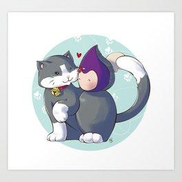 Poppette & Cat Art Print
