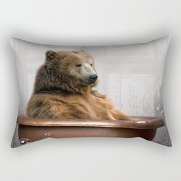 Bear with Rubber Ducky in Vintage Bathtub Rectangular Pillow