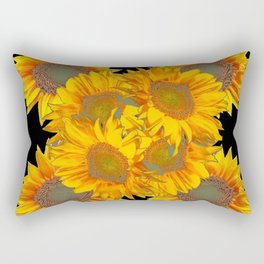Golden Yellow Sunflowers on Black Color Rectangular Pillow