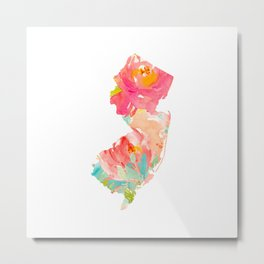 new jersey floral state map Metal Print