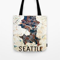 seattle Tote Bags featuring Seattle by Artful Schemes
