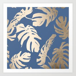 Simply Tropical Palm Leaves White Gold Sands on Aegean Blue Art Print