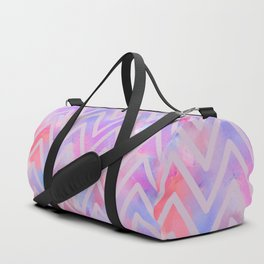 Geometrical pink teal lilac watercolor chevron Duffle Bag