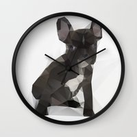 french bulldog Wall Clocks featuring French Bulldog by Three of the Possessed