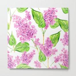 Pink watercolor lilac flowers Metal Print