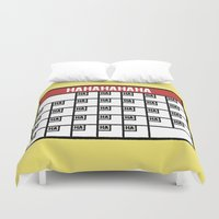 calendar Duvet Covers featuring The Laughing Calendar by Josh LaFayette