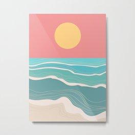 Crashing wave on sunny bay Metal Print