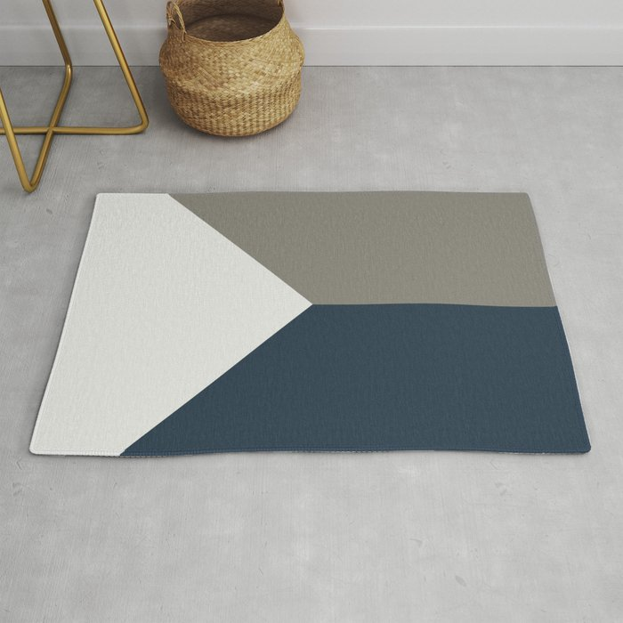 Blue Grey White Abstract Geometric Art Rug