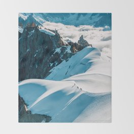 Snow Top Mountains (Color) Throw Blanket