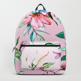 Watercolor flowers on violet background. Hand drawing. Backpack