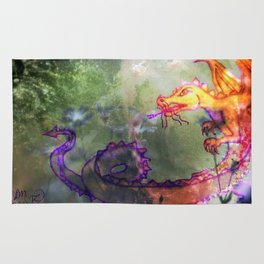Garden of the Hesperides, digital art with fierce dragon Rug