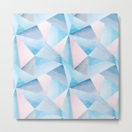 Light blue and pink geometric textured background Metal Print