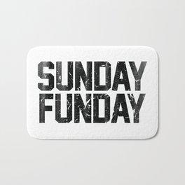 Sunday Funday Dirty Vintage Varsity Typography Print Bath Mat
