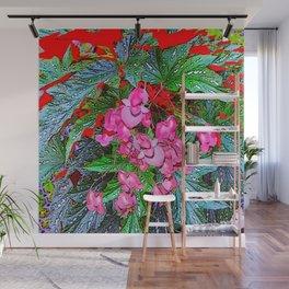 RED ART ANGEL WING PINK BEGONIA FLOWERS Wall Mural