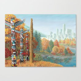 Vancouver Two Worlds Collide Landscape Painting Canvas Print